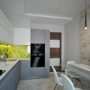 Дизайн-проект: бело-серая кухня с яркими акцентами.