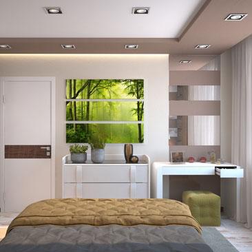 Дизайн интерьера спален в оттенках какао.