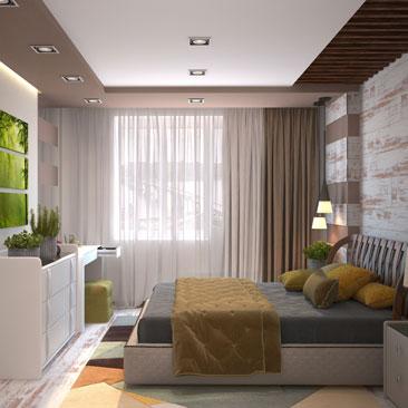 Дизайн оригинальной спальни в оттенках какао.