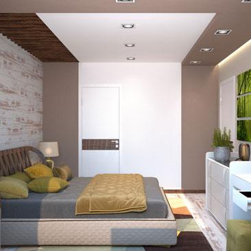 Цвет какао в интерьере квартиры (спальни). Дизайн-проект.