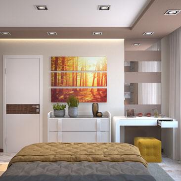 Спальня в оранжевых тонах – фото и проект.