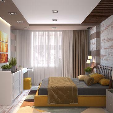 Оранжевая спальня с фото.