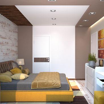 Оранжевая спальня - фото дизайна.