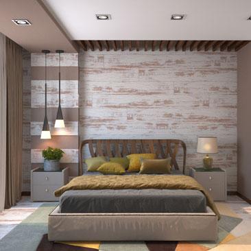 Комбинирование обоев и фактур в спальне - фото интерьеров.