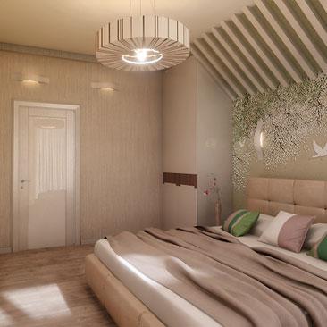 Спальня в спокойных тонах. Фото.