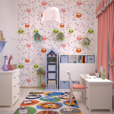 Мансардный интерьер детской комнаты.