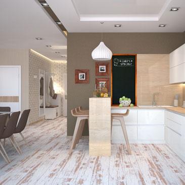 Дизайн, интерьер кухни-столовой-гостиной: фото (3d картинка).