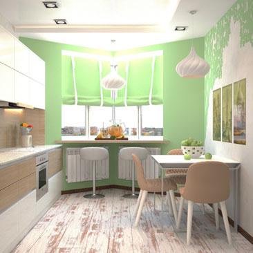 Проект интерьера кухни квартиры.