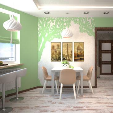 Проект (3д перспектива) интерьера кухни квартиры.