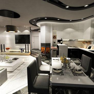 Загородный дом: кухня-столовая-гостиная дизайн.