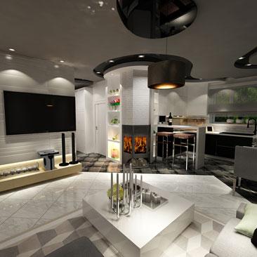 Дизайн-проект интерьера кухни коттеджа.