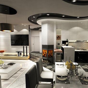Частный дом в Подмосковье: кухня-столовая-гостиная, дизайн.