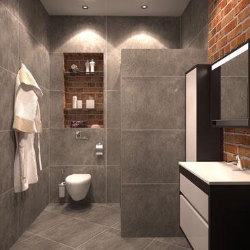 Санузел (туалет и душевая) в стиле Лофт.