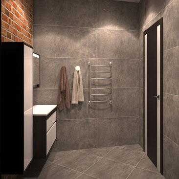 Ванная комната в стиле Лофт - дизайн-проект.