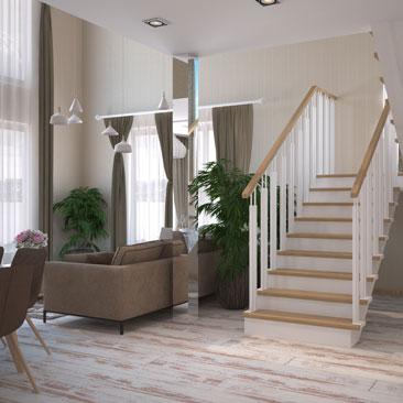 Интерьер и дизайн холла в частном доме с лестницей.
