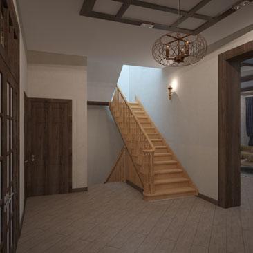 Проектирование и дизайн холла в частном доме с лестницей.