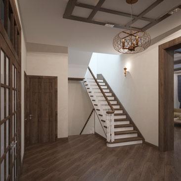 Лестница дизайн в частном доме.