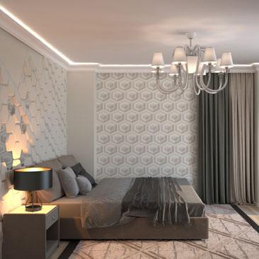 Интерьер и дизайн современной спальни - галерея проектов, портфолио.