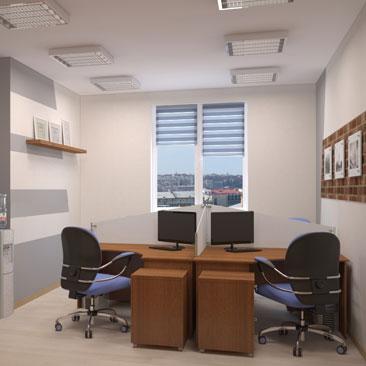 Создать дизайн - офисный коридор и кабинет руководителя