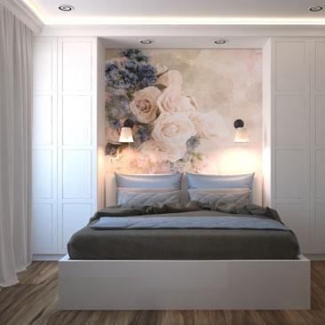 фото спальня с фотообоями