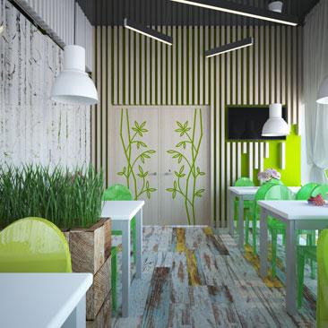 Дизайн интерьера кафе для детских праздников - фото.