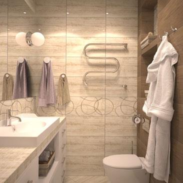 Дизайн интерьера ванной комнаты - проект в 3д.
