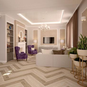 Столовые-гостиные - новые дизайн-проекты 2017 года.