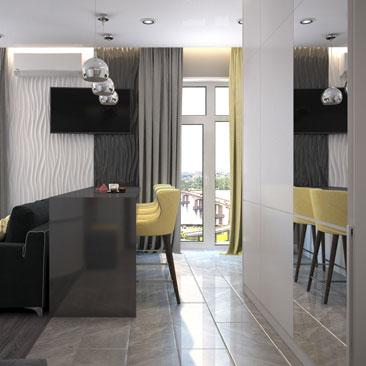 Дизайн небольшой кухни-гостиной 25 кв. м. с фото.