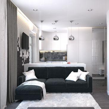 Маленькая гостиная, совмещенная с кухней - идеи, интерьер, фото, дизайн-проект.