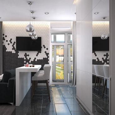 Маленькая кухня, совмещенная с гостиной - интерьер, фото, проект.