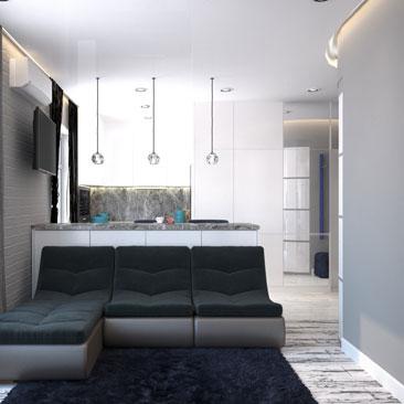 Дизайн интерьера маленькой кухни-гостиной - фото (3д проект).