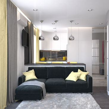 Дизайн интерьера небольшой кухни-гостиной - портфолио.