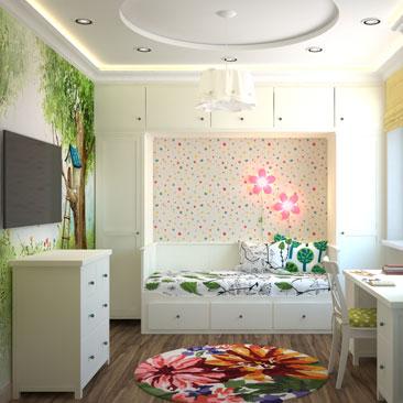 Детская комната с фотообоями - интерьер 2017 года.