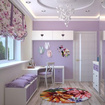 Интерьрное оформление детской комнаты в лиловом цвете - фото 2017.