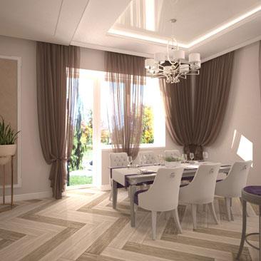 Разработка дизайна интерьера общей зоны первого этажа загородного дома - фото, идеи, проекты.