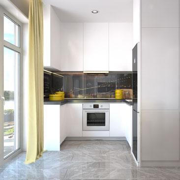 Разработка дизайна интерьера общей зоны квартиры - проект 2017 года.