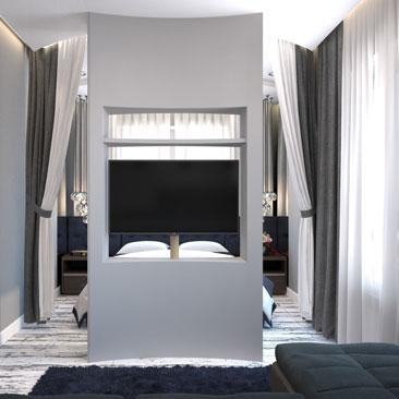 Спальня-гостиная-кухня-холл, фото, идеи зонирования.