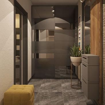 Интерьер, дизайн небольшой квадратной прихожей в квартире, фото.