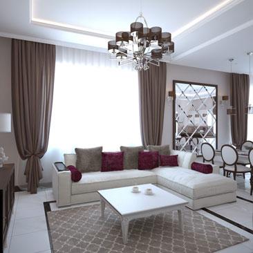 Дизайн частных домов: кухня-гостиная, проект.