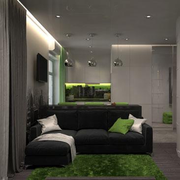 Дизайн квартиры-студии - проекты интерьеров.