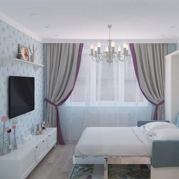 Голубая детская комната для девочки - дизайна, интерьер, фото.