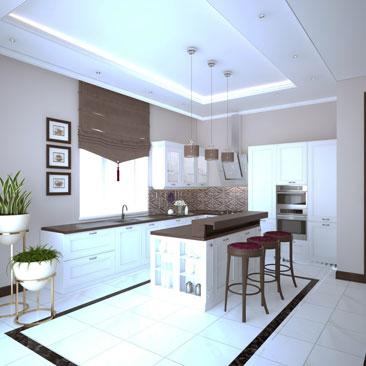 Кухня в коттедже - фото интерьеров (3д дизайн-проекты).