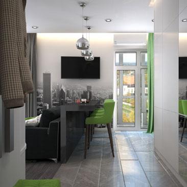 Дизайн современной квартиры-студии.