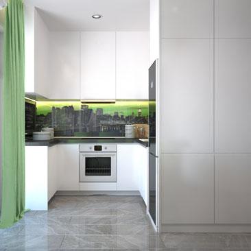 Интерьер кухни с фотопечатью на фартуке кухонного гарнитура.