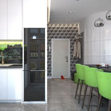 Дизайн кухни-гостиной-холла небольшой площади в современном стиле.