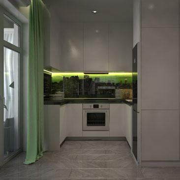Проект кухни со скрытой подсветкой - фото.
