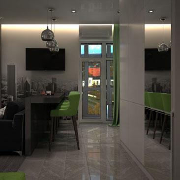 Интерьер кухни-гостиной с ночным скрытым (карнизным) светом.