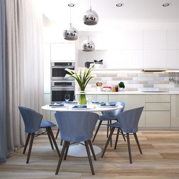 Дизайн кухни-гостиной в современном стиле.