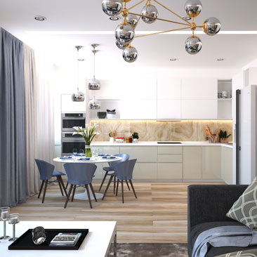 Проект дизайна современной кухни-гостиной.