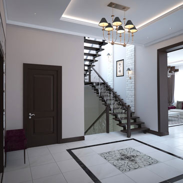 Интерьеры лестничных холлов в классическом стиле - проекты, дизайн, фото (3д).